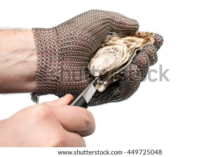 Shuck Geay oysters - stock photo