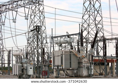 Shunt Reactor rectangular: maintaining voltage in high voltage station. - stock photo