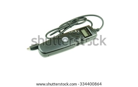 Shutter remote control on white background