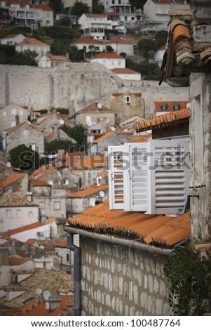 Shutters in Dubrovnik, Croatia. - stock photo
