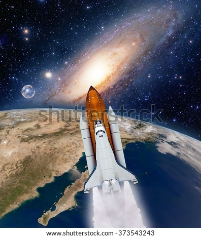 Shuttle rocket ship launch milky way galaxy planet moon space. Elements of this image furnished by NASA.