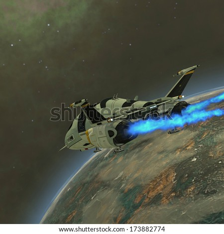 Shuttle-Star Transport - A shuttle from Earth comes in for a landing on an alien planet. - stock photo