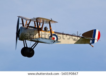 SHUTTLEWORTH, BEDFORDSHIRE, UK - OCTOBER 6: Sopwith Pup 9917 flying on October 6, 2013 at the Shuttleworth Air Display in Shuttleworth, Old Warden, Bedfordshire, UK.