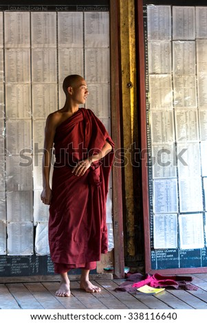 Shwe yan pyay, Myanmar; february 23 2014,  Burmese monk in a temple