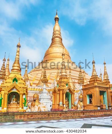 Shwedagon or Great Dagon Pagoda in Yangon. Myanmar.  - stock photo