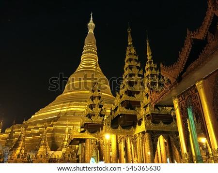 Shwedagon Pagoda At Night Golden Yangon Asian Gold Temple Myanmar