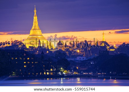Shwedagon Pagoda at night , Myanmar Yangon landmark