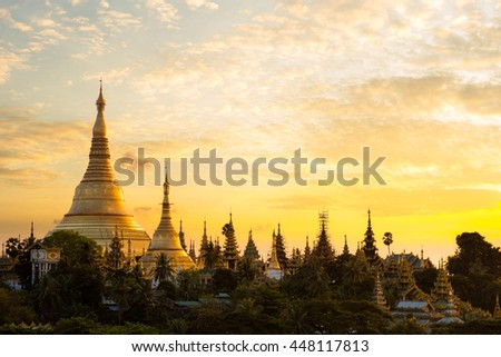 Shwedagon pagoda at sunset, Yangon landmark, Yangon Myanmar