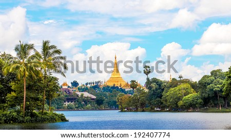 Shwedagon pagoda in Yagon, Myanmar - stock photo