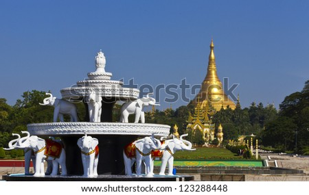 Shwedagon pagoda in Yagon, Myanmar from people park - stock photo