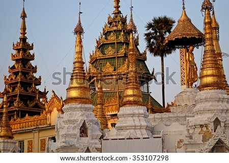 Shwedagon Pagoda Yangon Rangun Myanmar Burma - stock photo