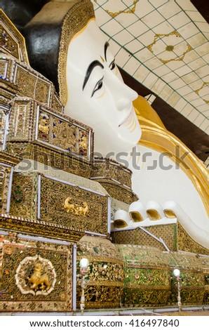 Shwethalyaung Buddha the largest reclining buddha statue - stock photo