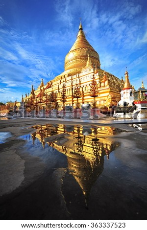 Shwezigon Pagoda, famous for its gold-leaf stupa in Bagan, ancient city of Myanmar