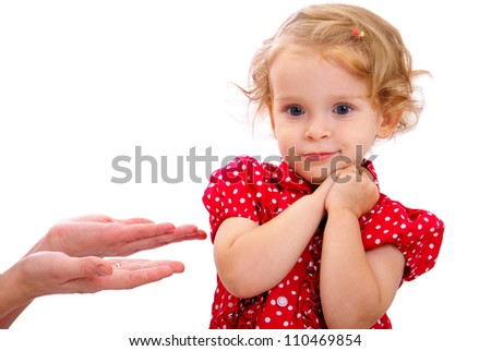 shy little girl in red dress
