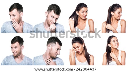 Shy, modest, blushful boy and girl composite