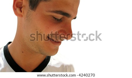 Shy - Profile of young handsome boy smiling - isolated