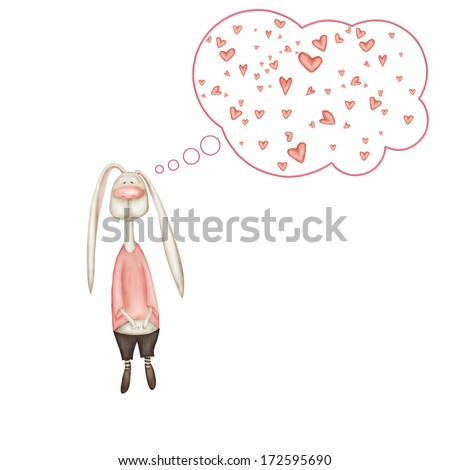 Shy rabbit boy love potions thinks of his beloved - stock photo