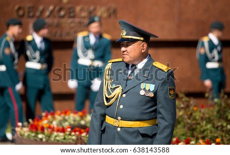 Shymkent, KAZAKHSTAN - May 9, 2017: Military soldier. The feast of the victory of the Red Army and Soviet people in the Great Patriotic War of 1941-1945