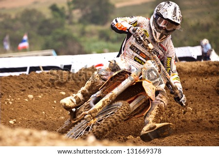 SI RACHA, THAILAND - MAR. 10 : Jamie Law (81) rider of KTM Team STR KTM during MX1 race of The FIM Motocross World C hampionship Grandprix of Thailand, on March 10, 2013. Thailand.