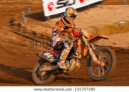 SI RACHA, THAILAND - MAR. 10 : Jefferey Herlings rider no. 84, Red Bull KTM Factory Racing won in MX2 during The FIM Motocross World Championship Grandprix of Thailand, on March 10, 2013. Thailand.