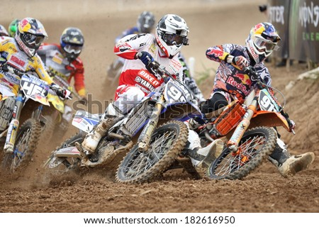 SI RACHA, THAILAND - MAR. 9 : Statue of unidentify racers in MX2 race during The FIM Motocross World Championship Grandprix of Thailand, on March 9, 2014. Si Racha, Chonburi, Thailand. - stock photo