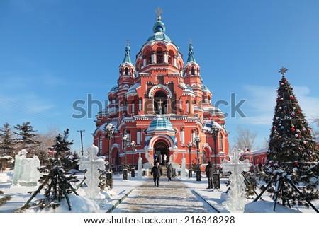 SIBERIA, IRKUTSK, RUSSIA - FEB 17, 2012: Temple of the Kazan icon of the Mother of God. The most famous temple of Irkutsk designed in neo-Byzantine style - stock photo