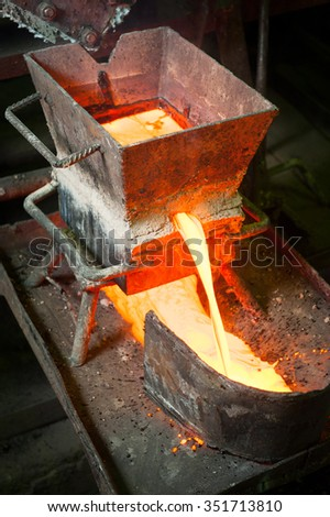 Siberia, Russia - August 13, 2014: moulting gold at the factory - stock photo