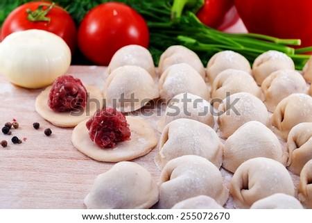 Siberian dumplings - stock photo