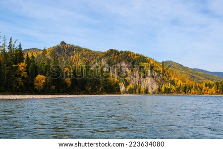 Siberian taiga fall. River and forest in Eastern Siberia - stock photo