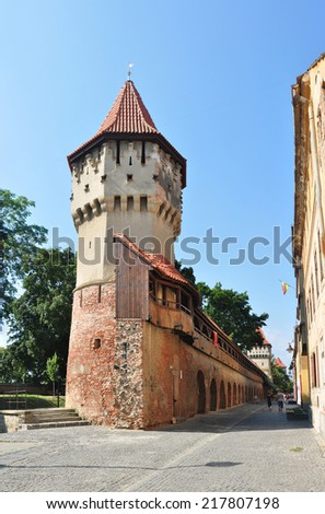 sibiu city romania Carpenters Tower landmark architecture - stock photo
