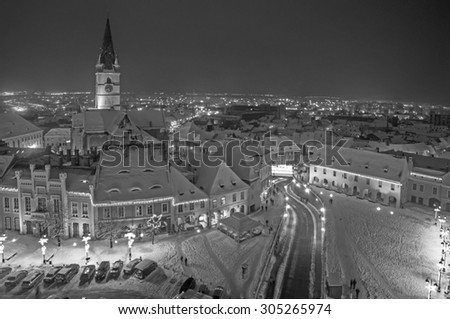 Sibiu in winter, Romania, Small Square