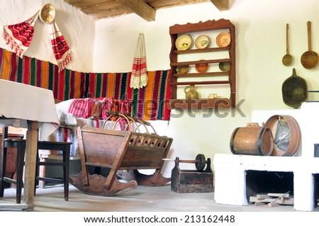 sibiu romania ethnic museum wood house indoors - stock photo