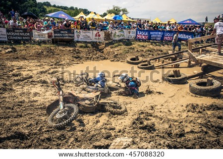 SIBIU, ROMANIA - JULY 16, 2016: A competitor in Red Bull ROMANIACS Hard Enduro Rally, the hardest enduro rally in the world. July 12-16, 2016