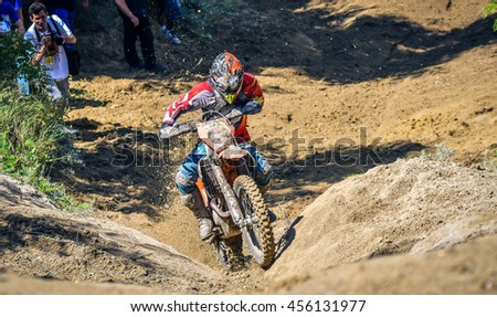 SIBIU, ROMANIA - JULY 16:  A copetitor in Red Bull ROMANIACS Hard Enduro Rally with a KTM motorcycle. The hardest enduro rally in the world. July 12-16, 2016 in Sibiu, Romania.