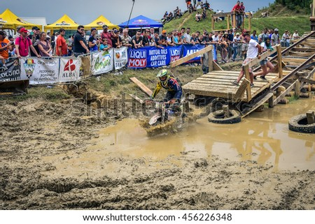 SIBIU, ROMANIA - JULY 16:  Craig Stevenson competing in Red Bull ROMANIACS Hard Enduro Rally with a KTM motorcycle. The hardest enduro rally in the world. July 12-16, 2016 in Sibiu, Romania.