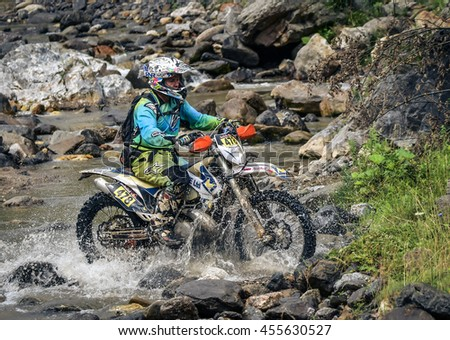 SIBIU, ROMANIA - JULY  16: Mattew Mills competing in Red Bull ROMANIACS Hard Enduro Rally with a KTM motorcycle. The hardest enduro rally in the world. July 12-16, 2016 in Sibiu, Romania.