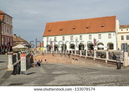 SIBIU, ROMANIA - SEPTEMBER 28: The Small Square On September 28, 2012 In Sibiu, Romania. The buildings here date since the 14-16th centuries and used to house crafts workshops and town guilds.