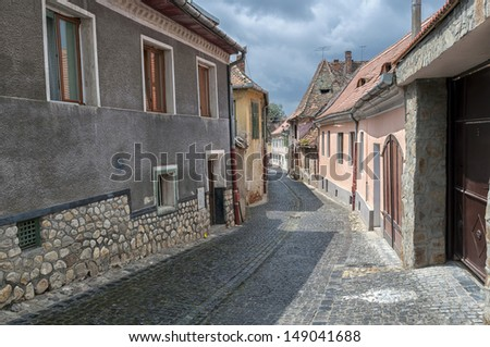 Sibiu, town in Transylvania, Romania. Old street of residential buildings.