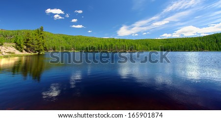 Sibley Lake in the Bighorn National Forest - stock photo