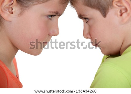 Sibling argument - stock photo