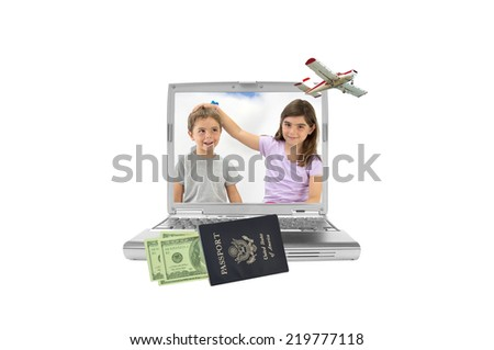 Siblings (boy looking up smirking and girl looking at camera hand on head of brother) on laptop screen airplane in flight US passport filled with one hundred dollar bills isolated on white - stock photo