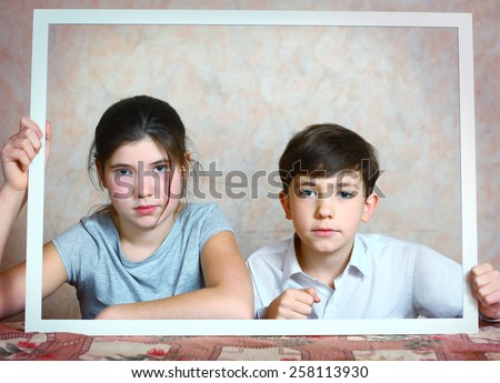 Siblings Brother Sister Cute Portrait Frame Stock Photo (Royalty ...