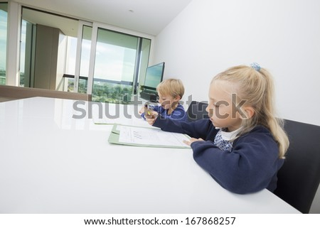 Siblings doing homework at table in house