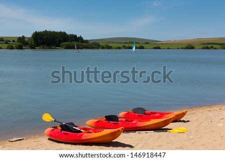 Siblyback Lake near Liskeard Bodmin Moor Cornwall England UK where people enjoy sailing and water sports