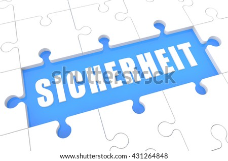 Sicherheit - german word for safety or security - puzzle 3d render illustration with word on blue background - stock photo