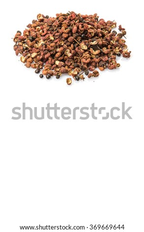 Sichuan pepper or peppercorn, also known as Chinese coriander over white background