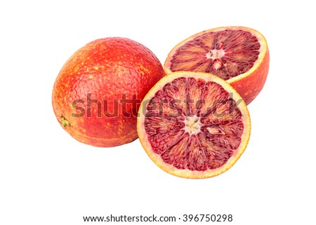 Sicilian orange with two juicy halves on a white background