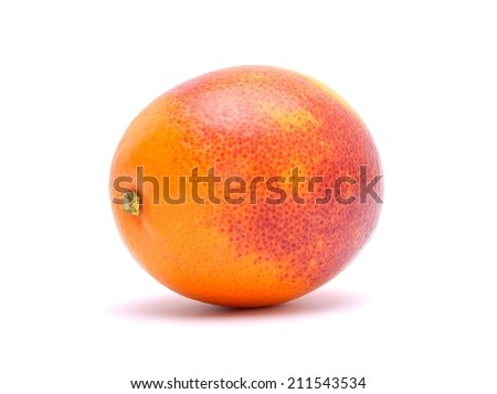 Sicilian red blood orange isolated on white background - stock photo