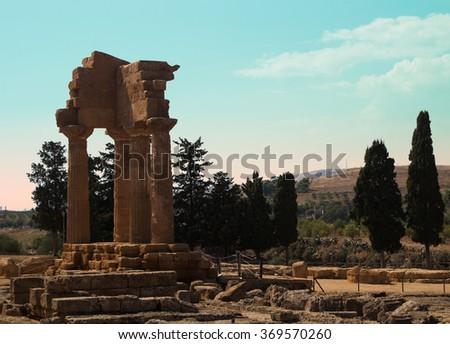 Sicilian ruins - stock photo