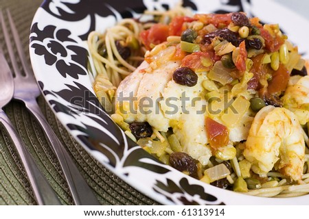 Sicilian Tilapia Linguine - stock photo
